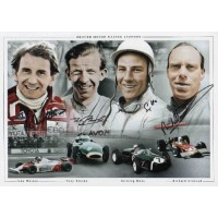"""MOTOR RACING LEGENDS SIGNED 16x12"""" PHOTOGRAPH by 4."""