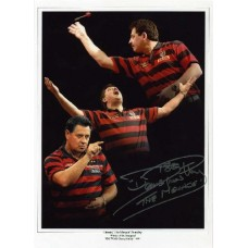 """Dennis 'The Menace' Priestley hand signed 11x8"""" montage photograph"""
